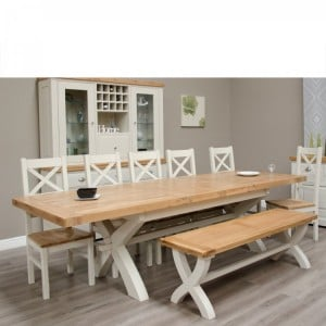Homestyle Deluxe Painted Furniture Extending Cross Leg Dining Table