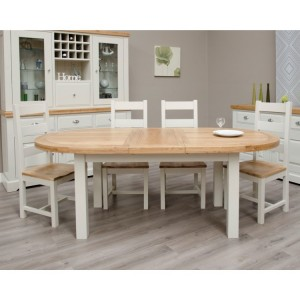 Homestyle Deluxe Painted Furniture Oval Extending Dining Table