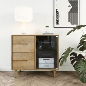 Homestyle Scandic Oak Furniture Small Glazed Chest