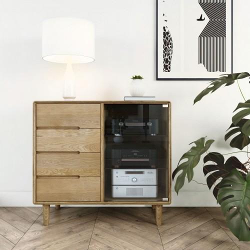 Homestyle Scandic Oak Furniture Small Glazed Chest