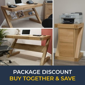 Z Solid Oak Furniture Computer Desk & Filing Cabinet Set