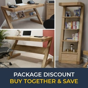 Z Solid Oak Furniture Computer Desk & Narrow Bookcase Set