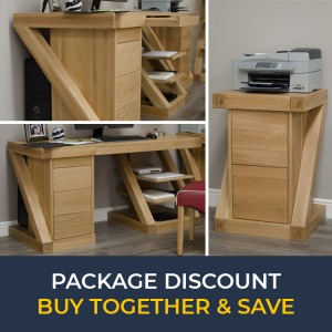 Z Solid Oak Furniture Large Computer Desk & Filing Cabinet Set