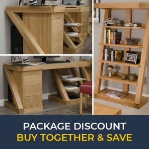 Z Solid Oak Furniture Large Computer Desk & Large Bookcase Set