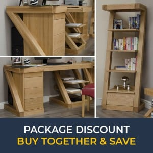 Z Solid Oak Furniture Large Computer Desk & Narrow Bookcase Set