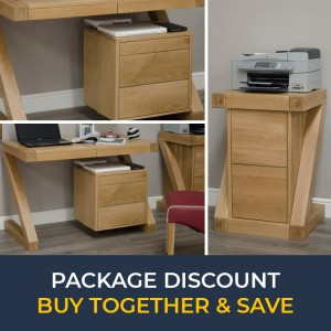 Z Solid Oak Furniture Small Computer Desk & Filing Cabinet Set