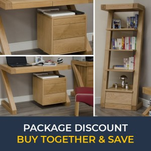 Z Solid Oak Furniture Small Computer Desk & Narrow Bookcase Set