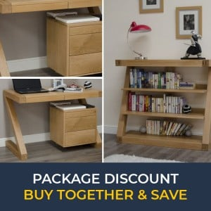 Z Solid Oak Furniture Small Computer Desk & Small Bookcase Set