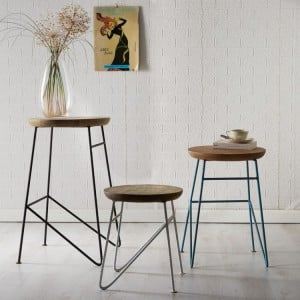Aspen Reclaimed Iron & Wooden Furniture Set of 3 Stools