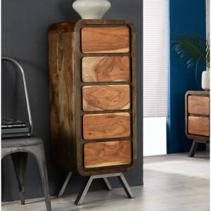 Aspen Reclaimed Iron & Wooden Furniture 5 Drawer Tall Chest