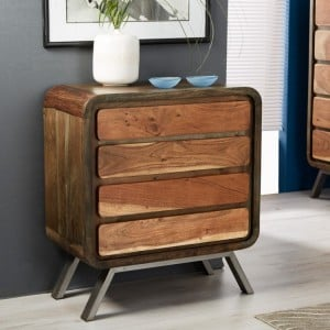 Aspen Reclaimed Iron & Wooden Furniture 4 Drawer Wide Chest