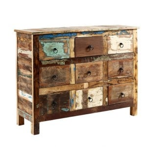 Coastal Reclaimed Wood Furniture 9 Drawer Chest of Drawers