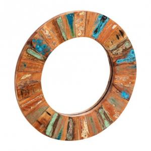 Coastal Reclaimed Wood Furniture Round Wall Mirror