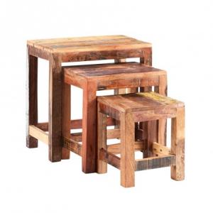 Coastal Reclaimed Wood Furniture Nest of 3 Tables