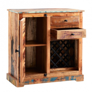 Coastal Reclaimed Wood Furniture Wine Rack Sideboard