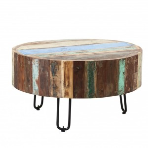 Coastal Reclaimed Wood Furniture Drum Coffee Table