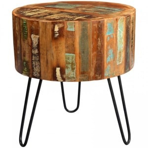 Coastal Reclaimed Wood Furniture Drum Side Table