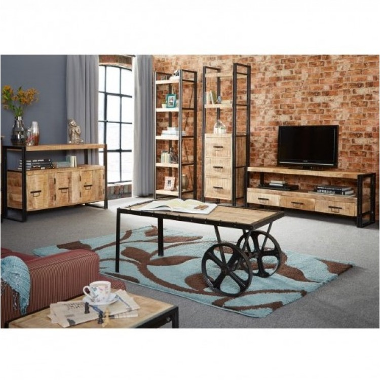 Cosmo Industrial Furniture Living Room Set | Fusion ...