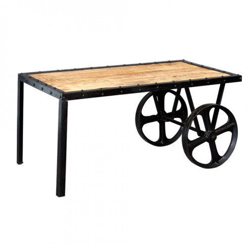 Cosmo Industrial Furniture Cart Coffee Table Fusion Furniture Store