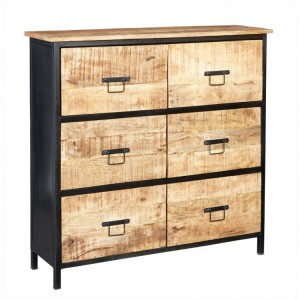 Cosmo Industrial Furniture 6 Drawer Chest of Drawers
