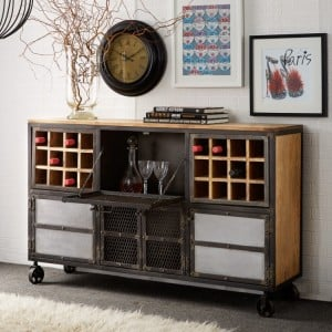 Evoke Industrial Furniture 24 Bottle Bar Cabinet