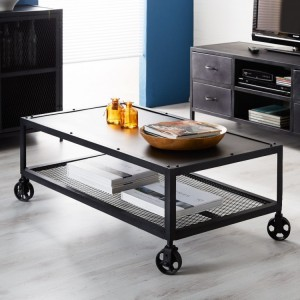 Metalica Industrial Furniture Iron Coffee Table with Wheels