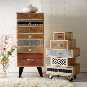 Sorio Reclaimed Furniture 5 Drawer Small Chest