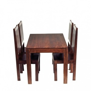 Toko Dark Mango Furniture Small 4ft Dining Room Table & Chairs Set