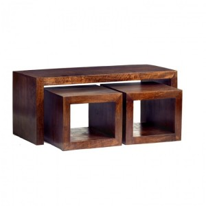 Toko Dark Mango Furniture Cubed John Long Coffee Table Set
