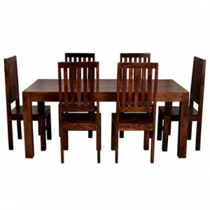 Toko Dark Mango Furniture Large 6ft Dining Room Table & Chairs Set