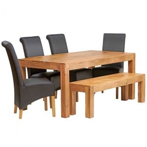 Toko Light Mango Furniture 6ft Dining Table, Bench & Leather Chair Set