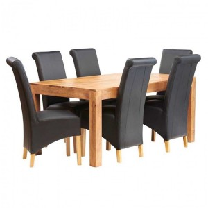 Toko Light Mango Furniture 6ft Dining Table & Leather Chair Set