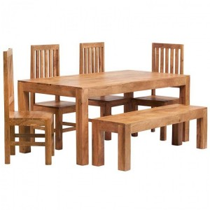 Toko Light Mango Furniture 6ft Dining Table, Bench & Wooden Chair Set