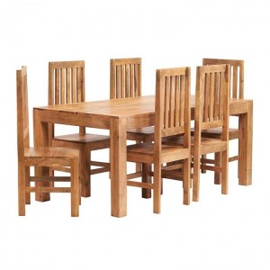 Toko Light Mango Furniture 6ft Dining Table & Wooden Chair Set