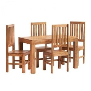 Toko Light Mango Furniture 4ft Dining Table and Wooden Chairs Set