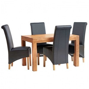 Toko Light Mango Furniture 4ft Dining Table and Leather Chairs Set