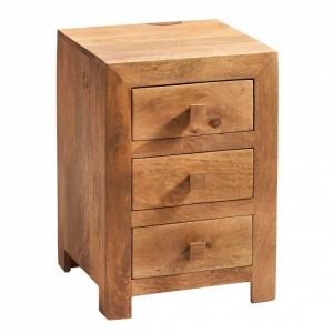 Toko Light Mango Furniture 3 Drawer Bedside Cabinet