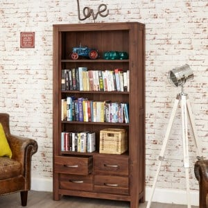 Mayan Walnut Furniture Large 4 Drawer Bookcase