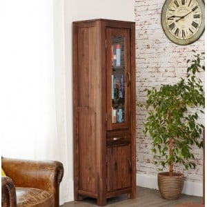 Mayan Walnut Furniture Narrow Glazed Bookcase