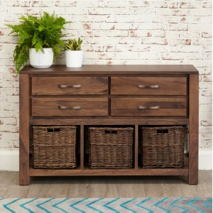 Mayan Walnut Furniture Console Table with Baskets