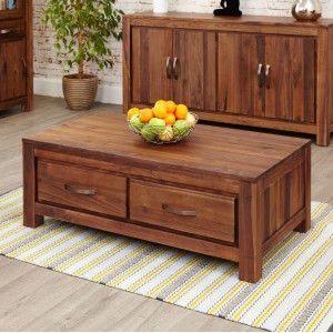 Mayan Walnut Furniture Low Four Drawer Coffee Table