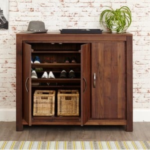 Mayan Walnut Furniture Extra Large Shoe Cupboard