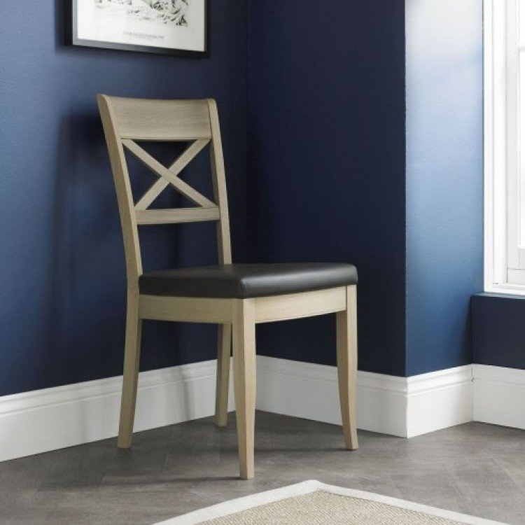 Oak Dining Chairs with Leather & Fabric Seats