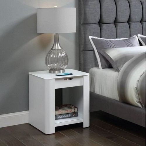 Jual Smart Technology Furniture White Enclosed Charging USB Lamp Table