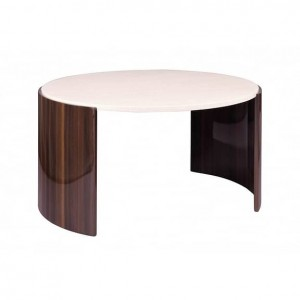 Jual Milan Walnut Furniture High Gloss Cream Coloured Round Coffee Table
