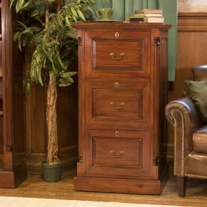 La Roque Mahogany Furniture Three Drawer Filing Cabinet
