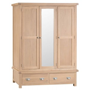Langham Lime Washed Oak Furniture 3 Door Wardrobe with Mirror