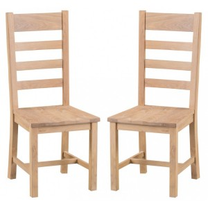 Langham Lime Washed Oak Furniture Ladder Back Chair Wooden Seat Pair