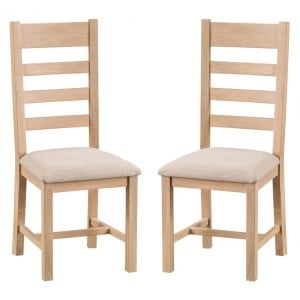 Langham Lime Washed Oak Furniture Ladder Back Chair Fabric Seat Pair