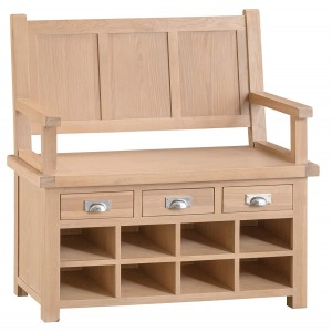 Langham Lime Washed Oak Furniture Monks Bench